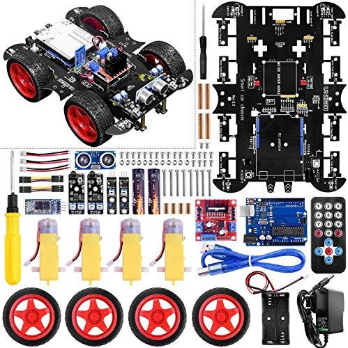 UNIROI Robot, Tracción en 4 Ruedas, Evitación de Obstáculos por Infrarrojos y Ultrasónicos, Seguimiento, Apoya Cotrol Remoto por Infrarrojos y APP Bluetooth