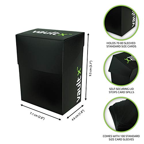 Vault X® Caja Estándar de Cartas con 100 Fundas Negras - Tamaño Estándar para 70-80 Cartas en Fundas - Porta Tarjetas Libre de PVC para TCG (Negra)