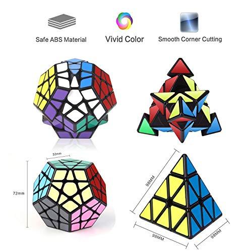 Vdealen - Juego de 3 Cubos mágicos de la colección de Velocidad, Paquete de pirámide, megaminx, Espejo, 3 x 3 x 3, Juego de Rompecabezas, Color Plateado