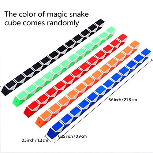 Viccess 24 Piezas Juguetes de Rompecabezas de Serpiente Magic Snake Cube Mini Serpiente para Niños, Favores de Fiesta Materiales de Fiesta,Color al azar