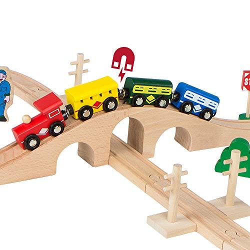 WOOMAX-Tren de madera pasajeros y vías 40 piezas, (Colorbaby 43634)