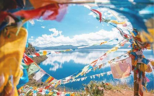 YDANH Beautiful View Puzzle Rompecabezas para Adultos de 1000 Piezas Big Hard Wooden Decompression Game Diversión: Las Banderas levantadas por el Viento del Norte del Tíbet