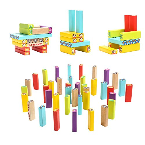 Yunt-11 Torre de Madera Block Colores Juegos de construcción, 4 en 1 Animal Tumbling Tower Juego de apilamiento para Adultos y niños, 51 Bloques de Madera, 24 Piezas de cartón, un Dado