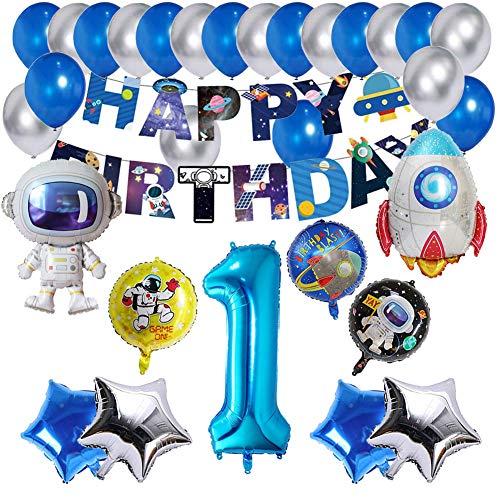 1 año Decoraciones Cumpleaños, Decoraciones de Fiesta temáticas del Espacio Exterior, Astronauta Cohete Globos Foil y Happy Birthday Pancarta Colgar Remolino Astronauta Globos de Látex