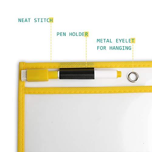 10 Pack Dry Erase Pockets, Opret Fundas Fichas de Papel de Gran Tamaño 25.5x33 cm / A4 con Bolígrafos, 10 Colores Diferentes, para la Organización en el Aula y Colegio, Guardería, Ludoteca