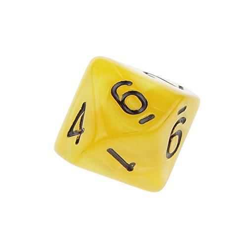 10pcs Juegos de Mesa Dados de Diez Caras 0~9 D & D TRPG - Amarillo