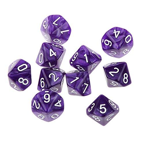 10pcs Juegos de Mesa Dados de Diez Caras 0~9 D & D TRPG - Púrpura