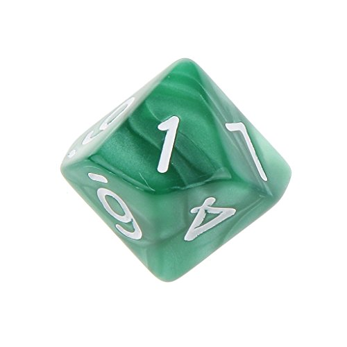 10pcs Juegos de Mesa Dados de Diez Caras 0~9 D & D TRPG - Verde