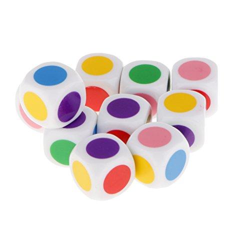 10pcs / Set Juguetes Educativos Juego de Mesa Dados en Cuadritos 6 Colores 16mm