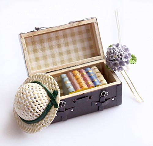 1:12 Miniatura de la casa de muñecas que lleva el cuero de la vendimia Maletín de madera marrón de la mini maleta para los muebles de la casa de muñeca