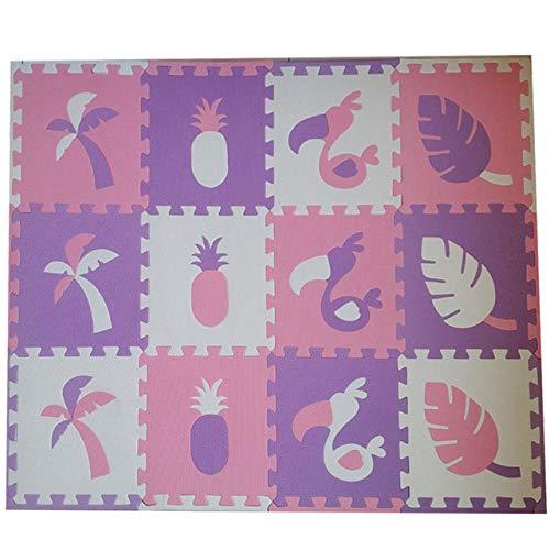 12 Piezas Baby Eva Foam Puzzle Play Mat Alfombras Para Niños Alfombra Alfombra Entrelazada Para Niños Azulejos 30 * 30 * 1 Cm-Púrpura-Rosa-Blanco_12 Piezas 30X30 Cm