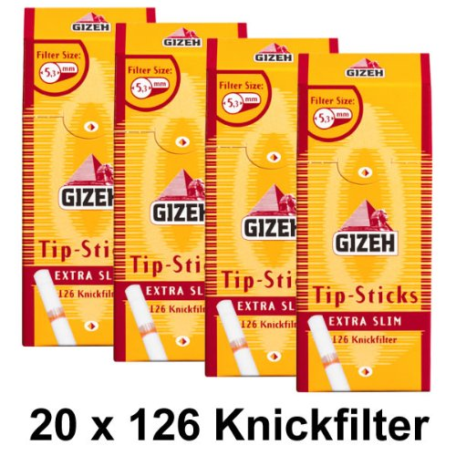 20Paquetes Gizeh Tips Sticks extra slim 5,3mm Knick filtro (20x 126) filtro