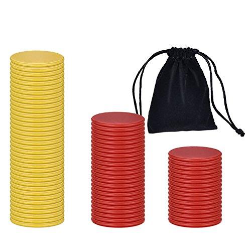200 Piezas de Contador Colorido Marcador de Plástico Chips Bingo con Bolsa de Almacenaje para Matemáticas o Juegos (Rojo Amarillo)