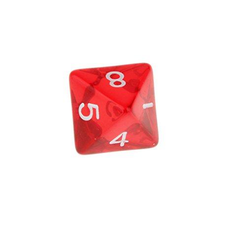 5 Piezas Muti Joya Matemáticas Dados de 8 Lados D & D TRPG Warhammer Rojo
