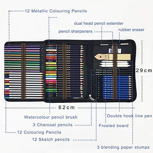 72 Piezas Set Lápices de colores profesional Con Lapices De Dibujo,Lapices Acuarelables,colores lapices acuarelables,carbón,Lápices Pastel,Herramientas de dibujo y Caja de lápiz