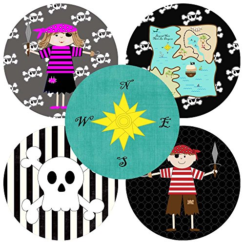 Adorebynat Party Decorations - EU pegatinas piratas pegatinas para los niños - la muchacha del cumpleaños de la fiesta de bienvenida al bebé pegatina del favor - conjunto de 50