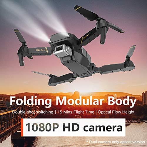 Adsvtech WiFi FPV Drone con cámara 1080 HD para Principiantes Cuadricóptero RC Plegable, conmutación de Doble Disparo, 15 Minutos de Tiempo de Vuelo, posicionamiento de Flujo óptico