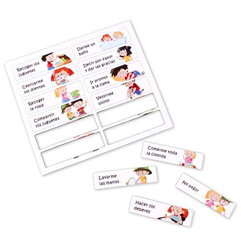 aeioubaby.com Tabla RECOMPENSAS Magnética Grande   Pizarra de tareas para Pared o Frigorífico, 43x32cm. 12 Actividades, 2 rotuladores y 1 Globo   Presentación Caja niños y cumpleaños (Inglés)
