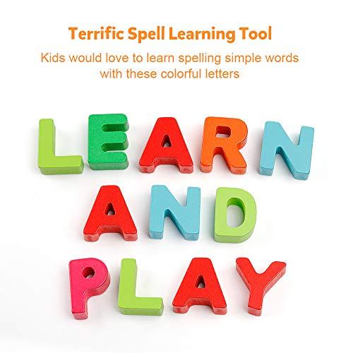 Alfabeto de Madera Rompecabezas ABC Cartas Peg Junta Perilla Montessori Jigsaw Bloques Aprendizaje Temprano Juguete Educativo Regalo para 1 2 3 años de Edad Niño Niños bebés