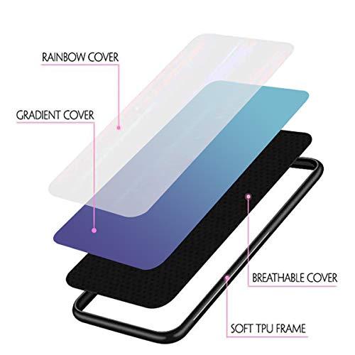 Alsoar Colorido Funda Compatible para Huawei Y6 Prime 2019/Y6 2019 Vidrio Templado 9H Aurora Gradient Marmol Cristal Anti-Rasguño Protectora Carcasa Bordes de Silicona TPU Caso (Azul Morado)