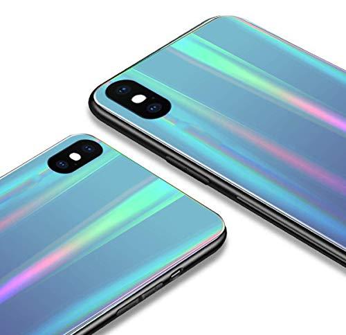 Alsoar Colorido Funda Compatible para Xiaomi Redmi S2/Y2 Vidrio Templado 9H Aurora Gradient Marmol Cristal Anti-Rasguño Protectora Carcasa Bordes de Silicona TPU Bumper Caso Case(Azul Morado)