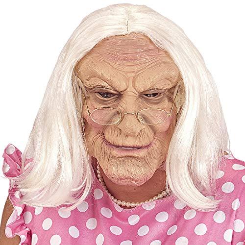 Amakando Extravagante máscara de Abuela con cabellos Blancos / Color Carne-Blanco / 0 / El Centro de Las miradas para Noche de Brujas y carnavales al Aire Libre