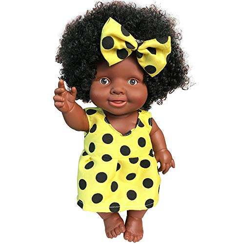 AmaMary Muñeca Negra Africana, Peluca Afro Negra con Pinza para el Cabello Mariposa 10 Pulgadas (Amarillo)