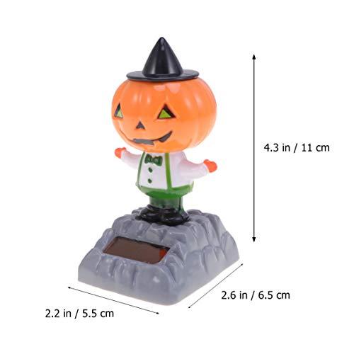 Amosfun 3 Piezas de Halloween Solar Bobble Calabaza Shaking Head Dancing Toy Figurines Car Dash Board Decoraciones Halloween Party Favors Regalos Suministros