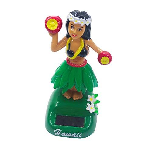 Amosfun Hawaiana Dancing Girl Dashboard Doll Solar Powered Hawaiian Hula Girl Car Decoration (Verde)