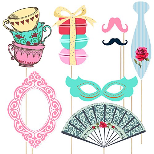 Amosfun Tea Party Stick Props Tea Party Photo Booth Atuendos Kit Party Accessories Girl'S Party Favors Supplies, Paquete de 30 (No DIY)