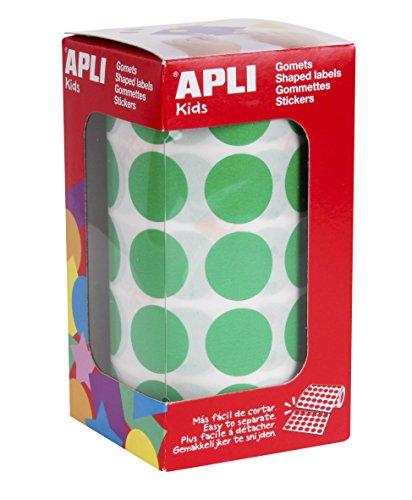 APLI Kids - Rollo de gomets redondos 20,0 mm, color verde