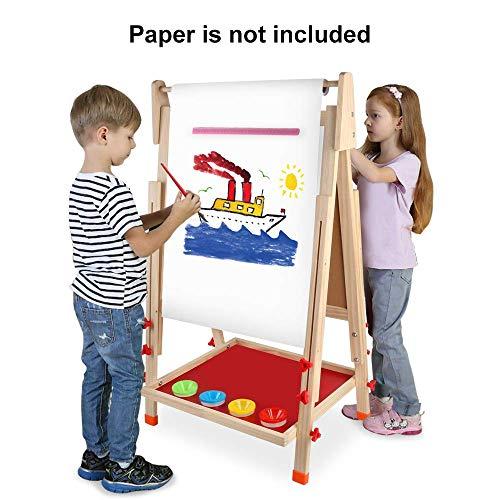 Arkmiido Pizarra Infantil con pies Regulables ,Pizarra Madera Infantil,Caballete Pintura Niños, 4 En 1 ,Pizarra magnética Infantil