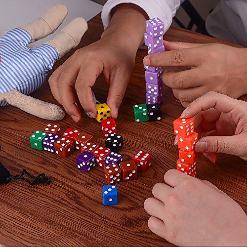 AUSTOR 100 piezas, juego de dados, 10 colores Square Corner dados con Free bolsa de almacenamiento, jugar juegos como Tenzi, Farkle, Yahtzee, Bunco o la enseñanza de las matemáticas