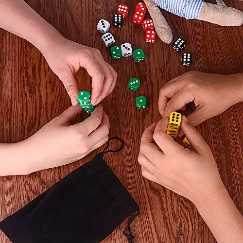 AUSTOR 50 piezas 6 - sided dice set, 5 x 10 colores diferentes 16mm acrílico dados con Free Velvet bolsas para Tenzi, Farkle, Yahtzee, Bunco o la enseñanza de las matemáticas
