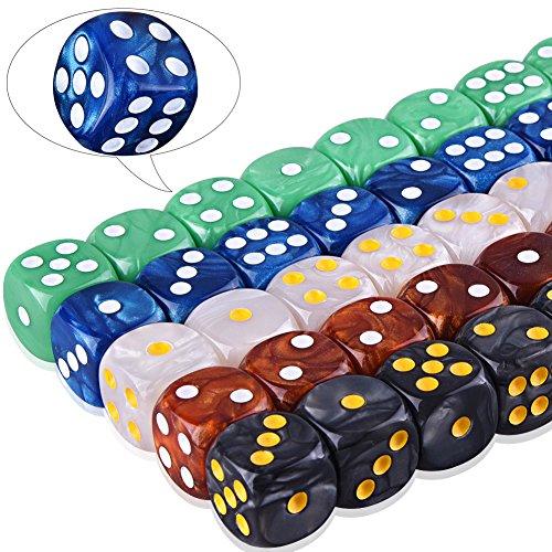 AUSTOR Dados de 6-caras (con una Bolsa) 5 perla colores 50 Piezas Dados de Bordes Redondeados para Dungeons and Dragons Matemáticas y Juegos