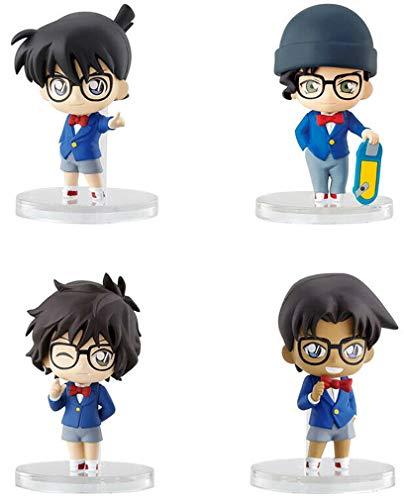 BANDAI Detective Conan Conjunto Completo 4 Figuras Colección 6cm - Conan Edogawa + Heiji Hattori + Shuichi Akai + Masumi Sera Gashapon 100% Original