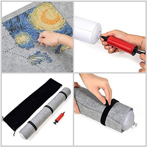 BangShou Puzzle Roll Fieltro Puzzles Tapete Puzzle Mat Felt Mat Play Mat Puzzles Blanket para 1500 Piezas Puzzles Puzzle y Roll up (Gris)