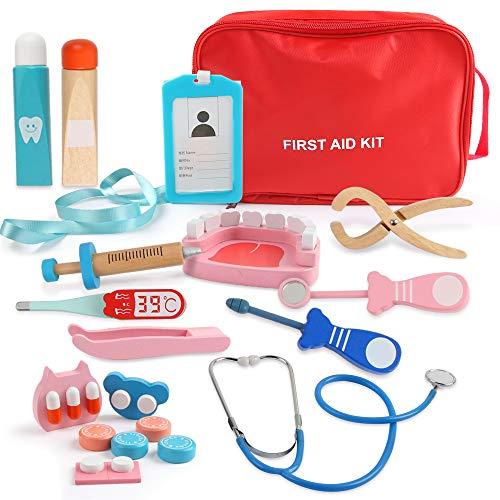 BeebeeRun Médico Juguetes de Madera de 19 Piezas, Juguetes de Dentista, Fingir Juego Herramientas para niños de 3 4 5 6 niñas