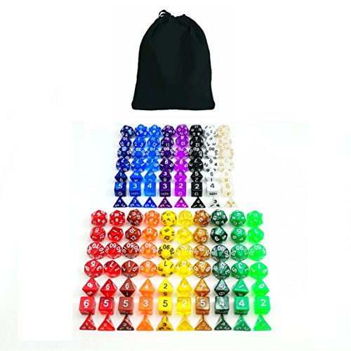 Bescon Multi-Colored RPG Dice Pack of 126 Polyhedral Dice 18 Complete Sets of 7 Dice 18 Different Colors - Black Velvet Bag Packaging