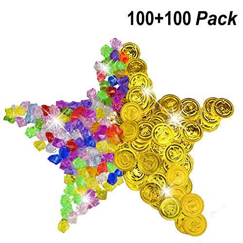 BESTZ 100 Pcs de Monedas Doradas de Plástico de Pirata y 100 Pcs de Gemas de Pirata Conjunto de Monedas Tesoros Falsos de Oro Oscuro Juego para Favores de Fiesta
