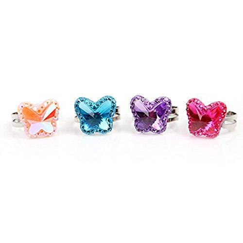 Beyond Dreams® 13 anillos infantiles transparentes aptos | regalo para fiestas de cumpleaños | Anillos con piedras de imitación brillantes coloridos | ajustables | Surtido de anillos niñas