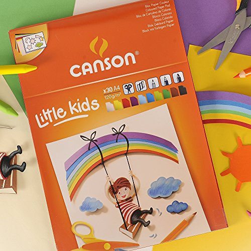 Bloc Encolado, A4, 30 Hojas, Canson Kids Cartulina 120g Surtido