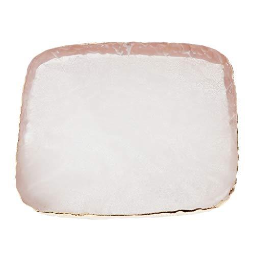 Bonarty Piedra De Resina Cuadrada Nail Art Color Display Palette Gel Acrílico Polaco Titular - Blanco, 8x8x0.8cm
