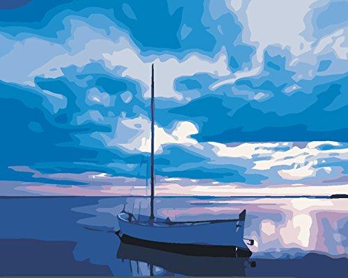 BOSHUN Pintar por Numeros para Adultos Niños Pintura por Números con Pinceles y Pinturas Decoraciones para el Hogar Barco en el mar en Calma (16*20 Pulgadas, Sin Marco)