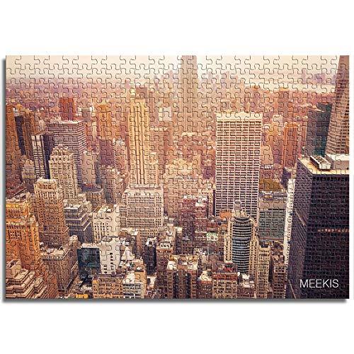 BOVIENCHE Rompecabezas De Madera 1000 Piezas Nueva York Bajo La Gloria Personalizan Niños Adultos Juguetes Educativos Decoración De La Sala Creativo -(75 X 50Cm)