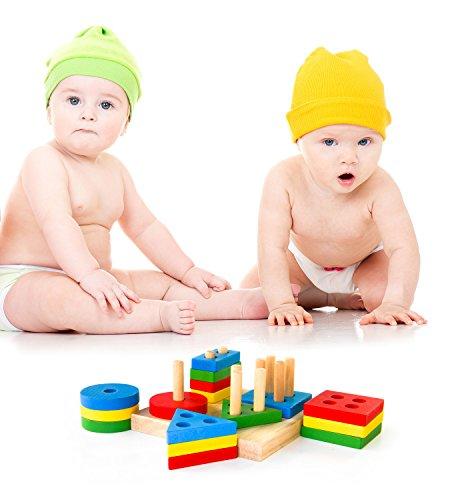 Boxiki Kids Juguetes Apilables de Madera y Tablero para Apilar Figuras  Juego de Figuras Geométricas Apilables   Non-Tóxico Juguete de Madera   Juguetes Educativos