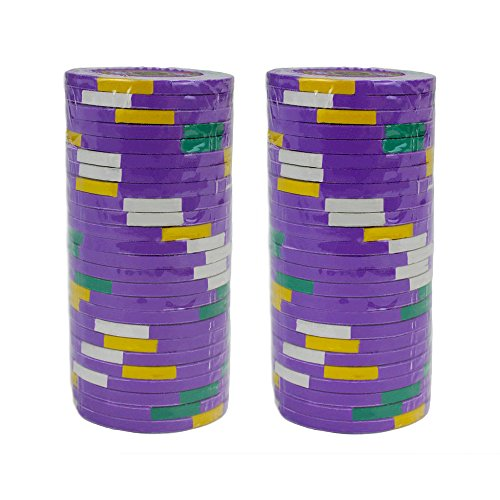 Brybelly Rey de Casino Premium Poker Chip 14-gram Heavyweight Arcilla Compuesto–Pack de 50, Morado ($500 Purple)