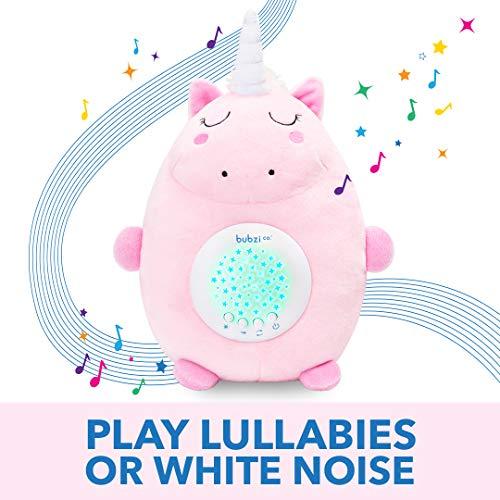 Bubzi Co Peluche para Bebé Unicornio - Máquina de Ruido Blanco – Luz quitamiedos infantil – Regalo para Bebé Niña - Regalo de Baby Shower - Calmante del Sueño – Regalo para Recién Nacido