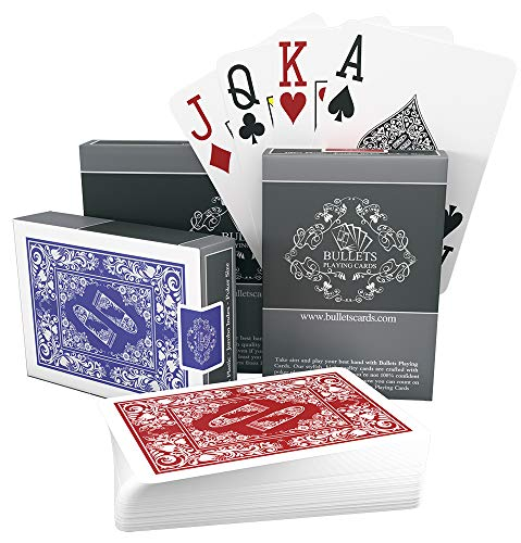 Bullets Playing Cards two decks of waterproof designer poker cards in deluxe 100% plastic with jumbo index – professional premium playing cards for Texas Holdem Poker