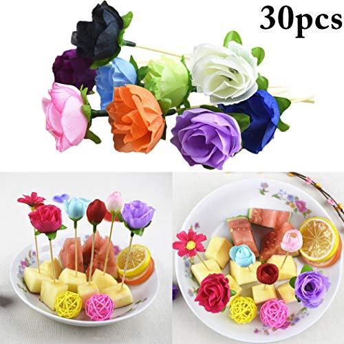 Cake Topper, FunPa 30PCS Cupcake Topper Fake Rose Decor Food Pick Cupcake Pick Party Decor Topper Fruit Cocktail palillos de dientes